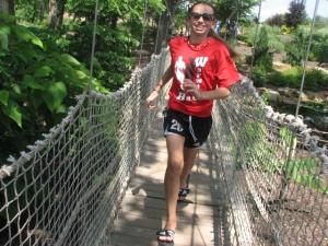 M running acroos bridge