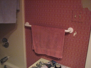 towel rack old bathroom