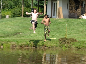 jumping in pond I and T