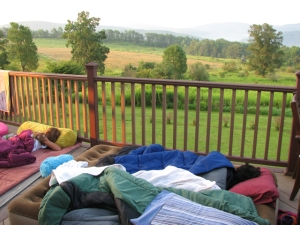 sleeping on the deck