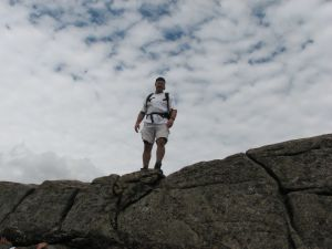 C on top of rocks